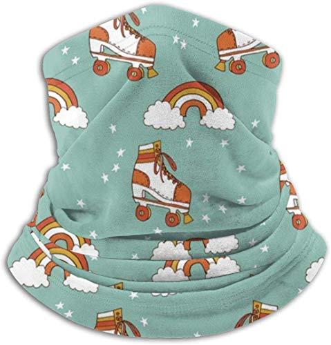 Pinakoli Fleece Neck Gaiter Warmer Gesichtsmaske Winter Outdoor - Rollschuh Retro Rainbow
