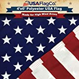 USA Flag Co. 4x6 Polyester American Flag - Embroidered Stars and Sewn Stripes withstands Harsh Wind, Sun, Dirt, and Moisture Areas. Made in The USA