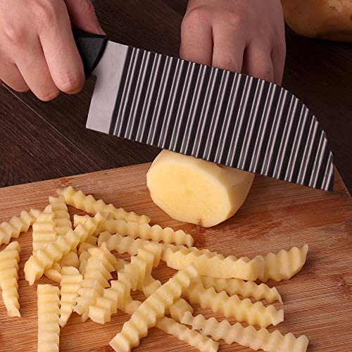 LaLiHa crinkle cutter knife Waves French Fry Slicer Titanium Stainless Steel
