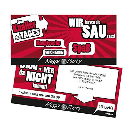 Einladungskarten zum Geburtstag - Mega Party | 30 Stück | Inkl. Druck Ihrer persönlichen Texte | Individuelle Einladungen | Karte Einladung