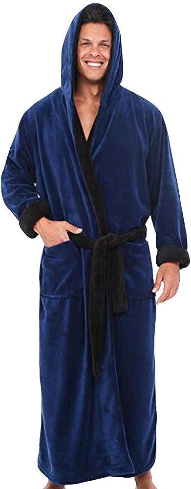 WUAI Mens Pajamas Winter Lengthened Plush Shawl Bathrobe Home Clothes Robe Plus Size Oversized Coat