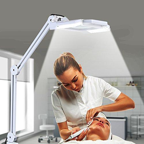 24W Lampe Loupe LED d'Atelier Esthetique à Pince sur Table Agrandissement 5X Bras Pliable pour...