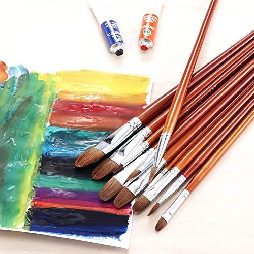 RONSHIN Ronde Borstel Tip Wolf Haar Houten Handvat Aquarel Paint Penseel Pen Set voor het leren DIY Olie Acryl Schilderen Kunst Verf Borstels Levert Kantoor Product Red-brown Nr. 12