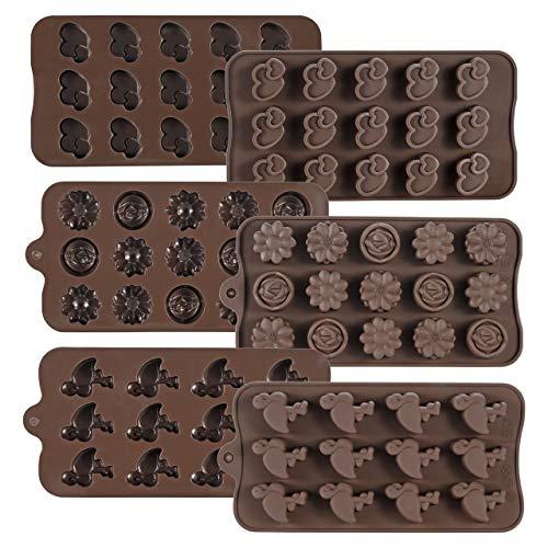 Mogokoyo 6 Stück Silikon Schokoladenform Pralinenform Backform für Schokolade selbst Machen, mit Herz/Blumen/Flamingo-Form, Ideal für Kindergeburtstag Party Hochzeit Valentinstag (6 Stück)