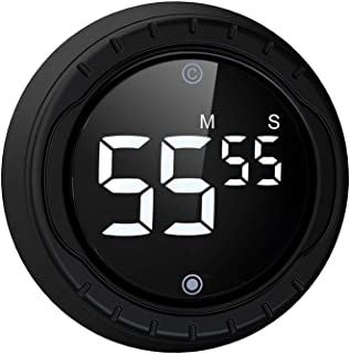 BALDR Kitchen Timer, Digital Magnetic Egg Timer and Countdown Timer with LED Big Digits, Twist Setting, Mute Ticking and 3...
