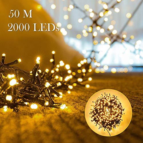 2000er LEDs Lichterkette 50M LED Weihnachtsbeleuchtung Innen und Außen Kupferdraht mit EU Stecker 8 Modi Wasserdicht Memoryfunktion für Weihnachten Garten Party Geburtstag Hochzeit(Warmweiß)