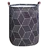 Tsingree Collapsible Laundry Hamper, Round Cotton Linen Laundry Basket, Large Storage Bin for Nursery Hamper and Kids Room (Black)