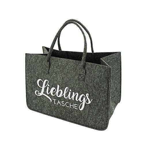 XL Filztasche Einkaufstasche · Henkeltasche aus Filz · Shopping Bag Lieblingstasche · Einkaufskorb mit Henkel · Shopper (Dunkelgrau)