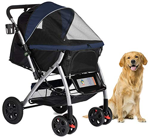 HPZ Pet Rover Premium Heavy Duty Dog/Cat/Pet Stroller Travel Carriage with Convertible Compartment