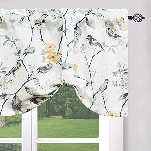 Leeva Valances for Windows Birds Pattern Small Curtains and Valance for Laundry Room, Elegant Tie-up Swag Kitchen Valance, One Panel, 52X18 Inch, Grey