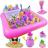 砂遊びおもちゃ 砂場セット 砂セット たっぷり遊べる 室内砂場 砂粘土おもちゃ 手を汚さない パープル(4kg 114個型抜き サンドボックス付き)