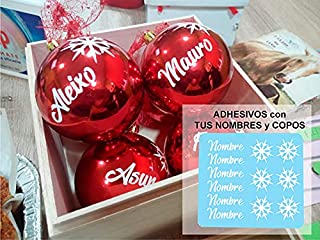 TOKPERSONAL 6 Nombres Adhesivos y 6 Copos DE Nieve Adhesivos para Pegar en Tus Bolas de Navidad (Solo Incluye LOS Nombres ...