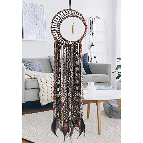 LOMOHOO Dream Catcher Feather Pendant Handmade Traditional Dream Catchers Wall Hanging for Kids Bedroom Dorm Room Home Boho Decoration Bohemian Ornament Craft (Gold Feather)