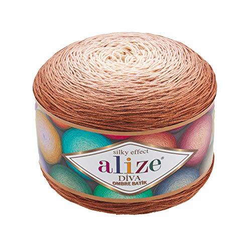 Alize Diva Ombre Batik effetto seta 100% microfibra acrilico filato uncinetto arte pizzo mestiere 1 skn 250gr 250yds mano maglia filato (7375)