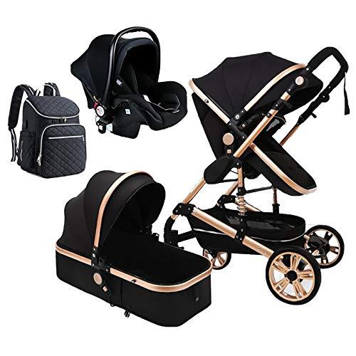 Cochecito de bebé con mochila para pañales, 3 en 1 de lujo cochecito plegable antigolpes, cochecito de bebé con cesta de bebé para recién nacido y bebé (color negro)