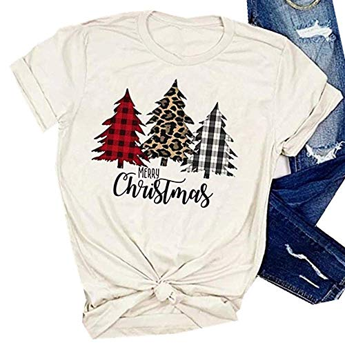 SurBepo Merry Christmas Tree Print T-Shirt Women Leopard Plaid Printed Casual Short Sleeve Tee Tops Blouse(M, Beige)