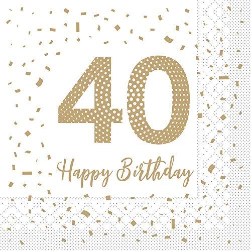 Sovie HORECA Tissue Serviette Happy Birthday 40 | Geburtstag Feier 40ter | 33 x 33 cm | 100 Stück