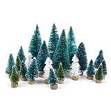 Goldenlight 27Pcs Sapin de Noel Miniature Arbre de Noël Artificiel Mini Vert et Blanc Bleu Turquoise Mixte Decoration de Table Intérieur Chambre Maison