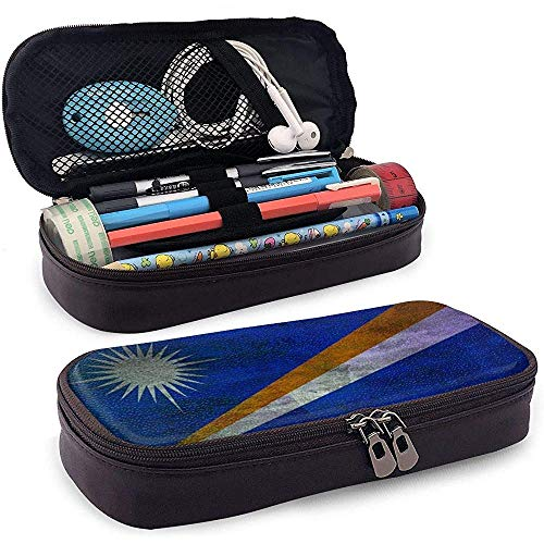Marshall Eilanden Vlag Grote Capaciteit Lederen Potlood Case, Potlood Pen Stationery Box Organizer, School Make-up Pen Student Stationery Bag