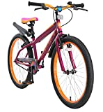 BIKESTAR Bicicleta Infantil para niños y niñas a Partir de 10 años | Bici de montaña 24 Pulgadas con Frenos | 24' Edición Mountainbike Berry Naranja