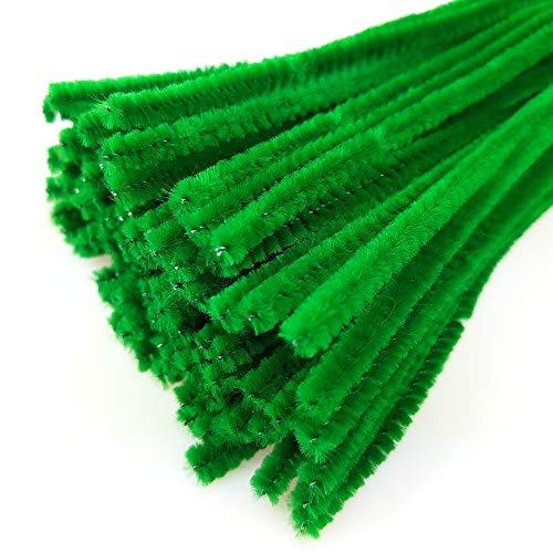 DekoHaus 100 Stück Chenilledraht Pfeifenreiniger Biegeplüsch Basteldraht Pfeifenputzer 30 cm / 6 mm Farbauswahl oder Mix (Grün)