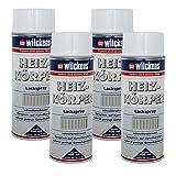 4 x Spraydose Heizkörper Lackspray weiß glänzend 400ml Alkydharzlack 100ml/1,06€