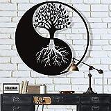 DekadronDécoration murale en métal - Arbre de vie - Décoration murale en métal Yin Yang 18'W x 18'H / 45x45 cm noir