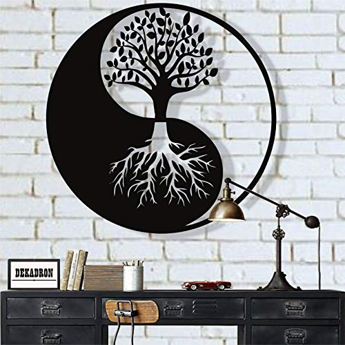 Metal Wall Art, Tree of Life Wall Art, Metal Yin Yang Decor, Metal Wall Decor, Interior Decoration, Wall Hangings (18'W x 18'H / 45x45 cm)