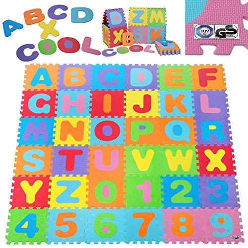 Deuba Alfombra puzzle para niños bebe 86 piezas 26 letras y números espuma alfombrilla de juego infantil 32 x 32 cm goma