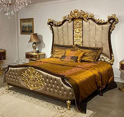 Casa Padrino Luxus Barock Doppelbett Silber/Dunkelbraun/Gold - Edles Massivholz Bett mit Kopfteil - Prunkvolle Schlafzimmer Möbel im Barockstil