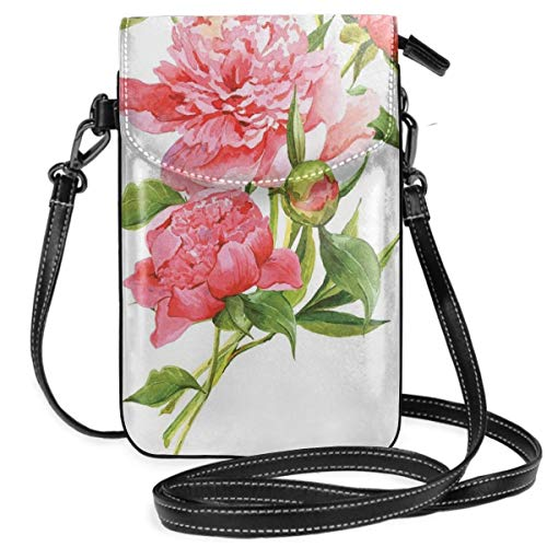 Jiger Women Small Cell Phone Purse Crossbody,Pink Peonies With Strong Green Leaves Ecology Flourish Nature Inspired Bouquet
