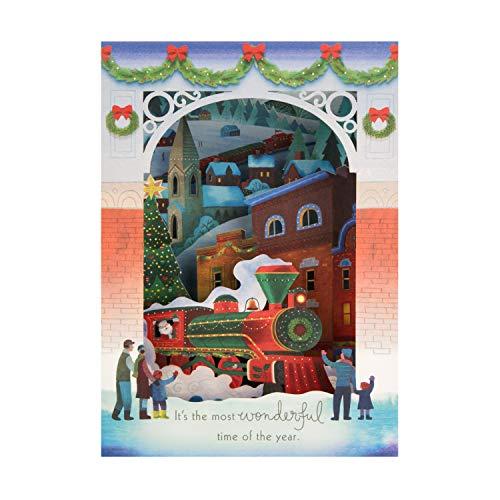 Biglietto di Natale pop-up 3D di Hallmark – Design con Wonder Santa's Steam Engine