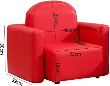 MYJZY Kids Sofa, 2-in-1 Multi-Functional Kids Table & Chair Set,Mini Children's Couch,Soft Comfortable PVC Leather Sofa Chair,Children's Bedroom Decoration,Red