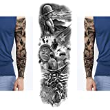 14 PCS Extra Large Full Arm Temporary Tattoo Stickers, Waterproof Temporary Tattoo,Black Body Military Arm Sleeves Tattoo Stickers For Women,Men,Halloween,Party,Masquerade