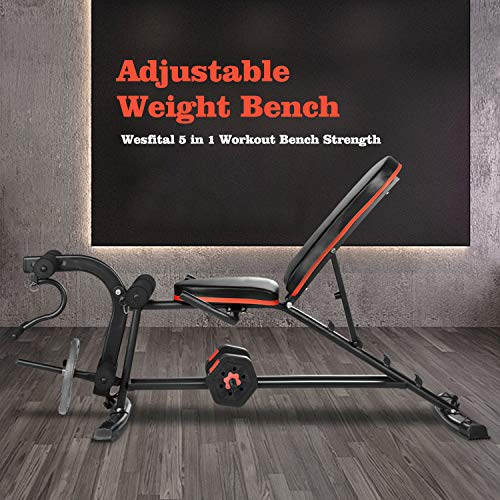 Adjustable Weight Bench - 5 in 1 Workout Bench Strength Training Bench with Leg Extension Utility Bench Incline Bench Exercise Bench For Home Gym (Charming Red)