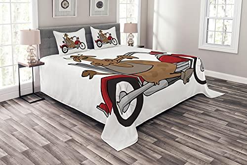 ABAKUHAUS Motorrad Tagesdecke Set, Kuh auf Chopper-Karikatur, Set mit Kissenbezügen farbfester Digitaldruck, 220 x 220 cm, Mehrfarbig