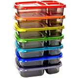 7 pack color meal prep 3 compartment portion control plastic bento lunch box food container