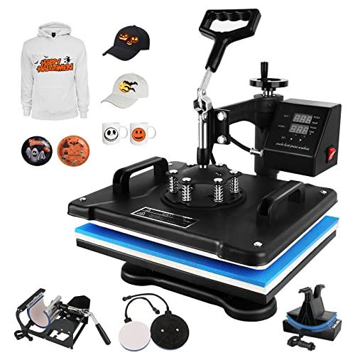 WEANAS Heat Press Machine, 12' X 15' Heat Transfer Machine with Professional Swing Arm, Digital Sublimation 5 in 1 for T-Shirt, Mug, Hat, Plate, Cap