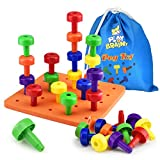 Play Brainy Peg Toy Set – Exciting Montessori Style Learning Toy – Colorful Stacking Peg Board Toy for Toddlers & Preschoolers – Perfect for Color Recognition & Matching (30 Pegs)