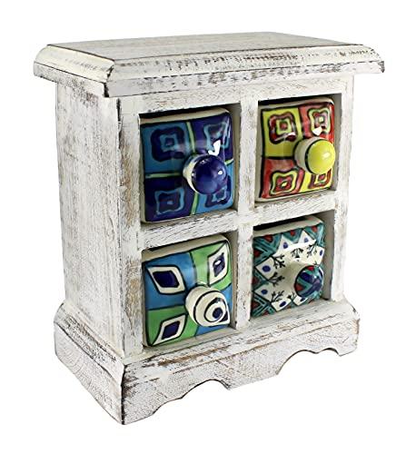 aquasensishop budawi® - Mini Kommode Holz und Keramik mit 4 Schubladen handbemalt, Gewürzschrank weiß