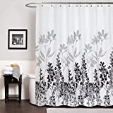 Gibelle Black and White Floral Shower Curtain, Black and Grey Plant Leaf Modern Ombre Design, Abstract Watercolor Vine Leaves and Flowers Botanical Decorative Fabric Bathroom Decor, 72'' x 72''