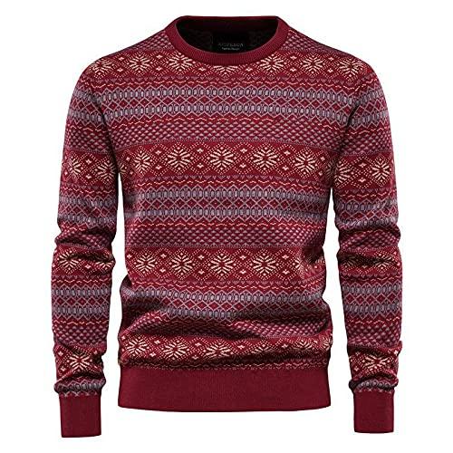 Suéter Para Hombre Pullover Con Cuello En O - Primavera Gruesa Streetwear Estampado Navideño Jerséis...