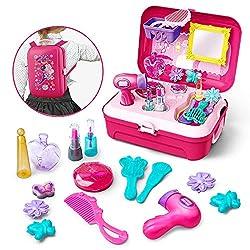GizmoVine Prinzessin Rollenspiel Schminkset ,Schminkset kinderfön ,Spielzeug Schminksachen Schönheit Koffer Umhängetasche für Kinder Mädchen für 2 3 4 5 Jährige Kinder (Schminkset)