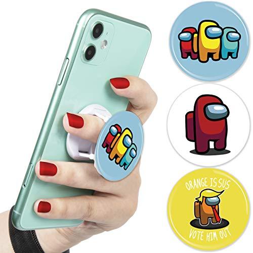 Besoar Among Teléfono Móvil Holder Soporte Pop Girp Anillo para Teléfono/iPhone/Android/Samsung/LG/Motorola Dibujos Animados Linda Moda Divertido para Hombre Mujer Chicas Niños US 3 Pcs (Among D)