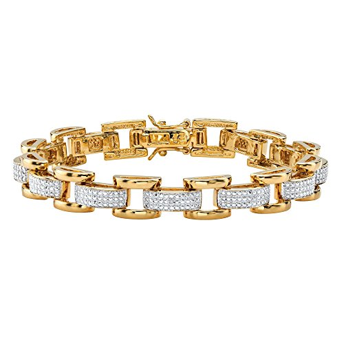 Men's 18K Yellow Gold Plated Genuine Diamond Accent Fancy Link Bracelet (8.5mm), Box Clasp, 8.5 inches