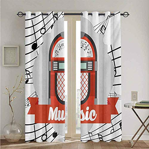 nooweihome Jukebox Kitchen Curtain Old Vintage Music Radio Box Cartoon Image with Notes Artwork Print The Best Choice for Bedroom and Living Room W96 x L84 Orange Pale Grey Black