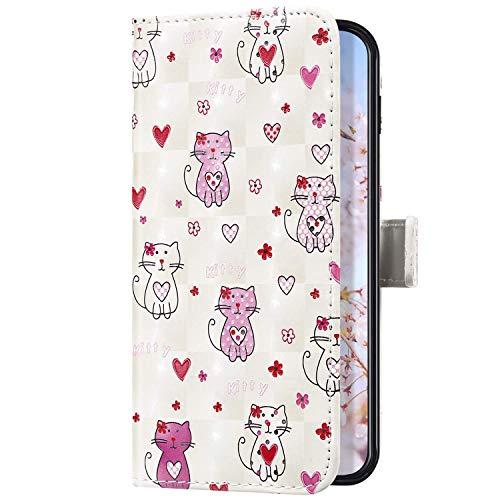 Uposao Kompatibel mit Samsung Galaxy A70 Handyhülle Leder Schutzhülle Glitzer Bling 3D Klapphülle Flip Case Brieftasche Leder Hülle Bookstyle Wallet Tasche Magnet Kartenfächer,Cute Katze
