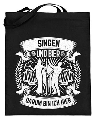 Chorchester Für Singen und Bier Fans - Jutebeutel (mit langen Henkeln) -38cm-42cm-Schwarz