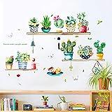 Pegatinas de Pared Acuarela Cactus Verdes Vinilos Decorativos Gato con Plantas Adhesivos,Etiqueta de la Pared de Planta en Maceta Como Decoración de la Pared Para Dormitorio Sala (verde, 42x70)