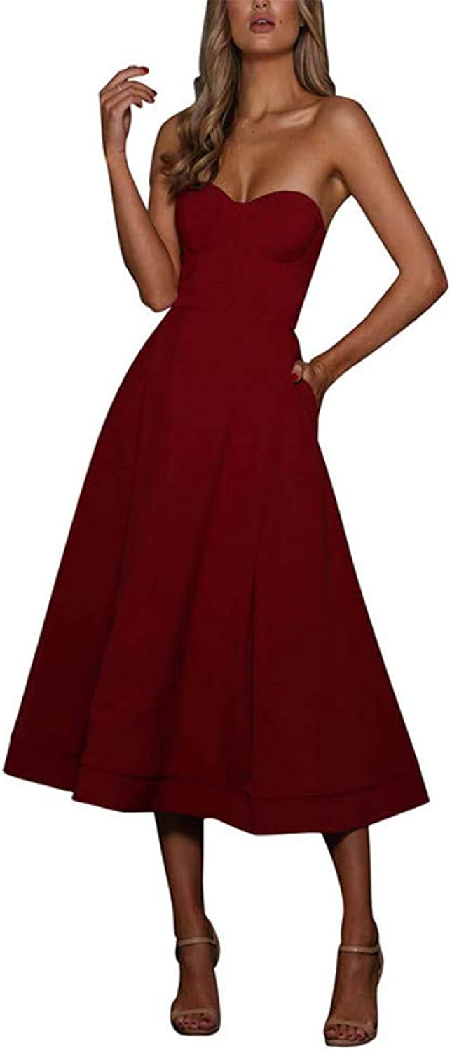 Dress for Women,Burgundy Sexy Off Shoulder MidCalf Cupped Strapless Elegant Dress Women Summer ALine Casual Dresses